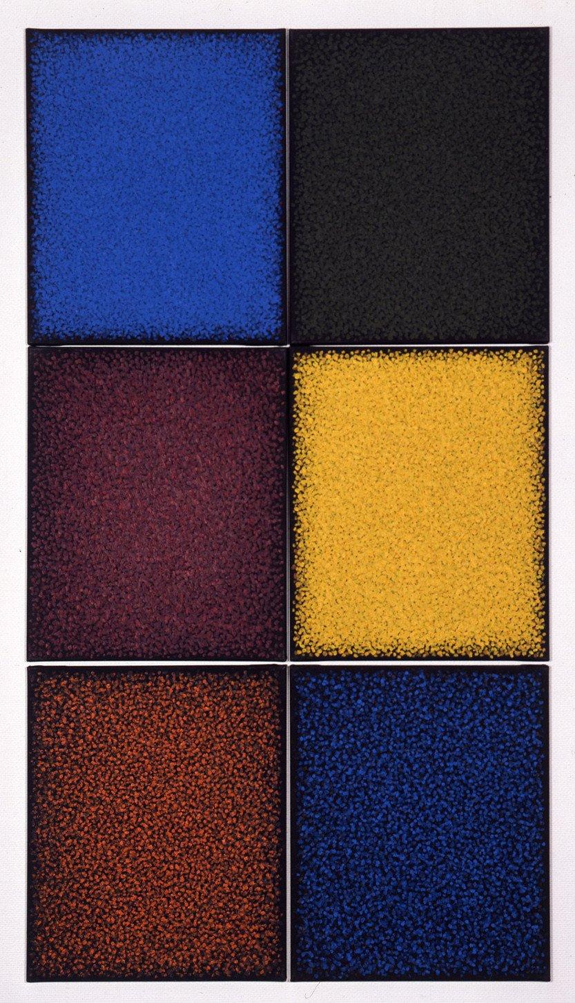 Fine and Mellow (sechsteilig), 1987, Öl auf textilem Bildträger; Leihgabe des Förderkreises für die Kunsthalle Mannheim e.V. seit 2000 und 2001; gestiftet von Dr. h.c. Heinrich Vetter, Ilvesheim; © Kuno Gonschior, Kunsthalle Mannheim