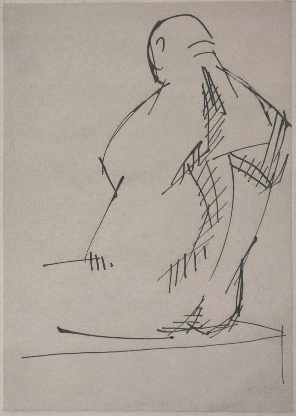 Studie zum Catcher, Rückenansicht, 1963/66, Feder in Schwarz; © Gustav Seitz Stiftung, Hamburg