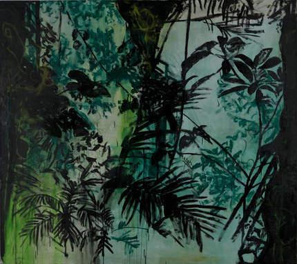 Green Forest, 1994, Gouache und Acryl auf Leinwand; Leihgabe des Förderkreises für die Kunsthalle Mannheim e.V. seit 2005; © VG Bild-Kunst, Bonn 2015