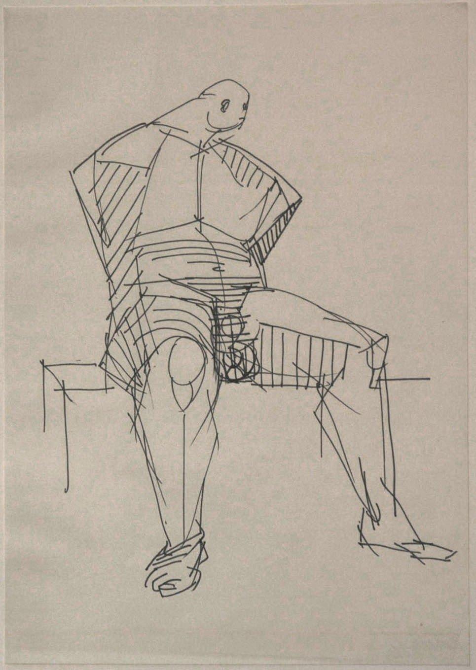 Studie zum Catcher, Vorderansicht, 1963/66, Filzstift in Schwarz; © Gustav Seitz Stiftung, Hamburg